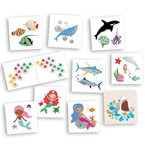Ocean Friends Super Variety Set includes 50 assorted premium waterproof colorful metallic kids temporary foil under the sea inspired Fun Tats by Flash Tattoos, party favor -
