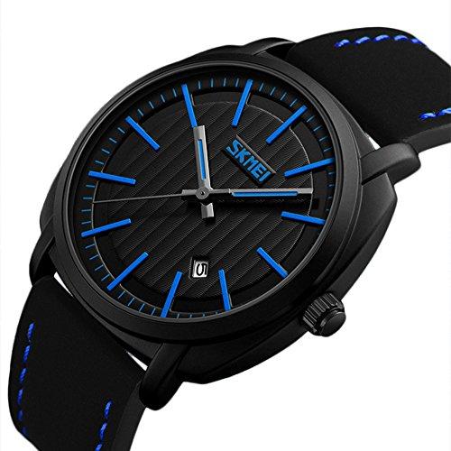 Dress Watch Blue Dial (Vintage Calendar Stainless Steel Casual Watch Black Dial Classy Dress Watch For Men Military Waterproof)