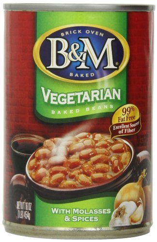 B&M 99% Fat Free Vegetarian Baked Beans, 16 Ounce Cans (Pack of 12) by B&M