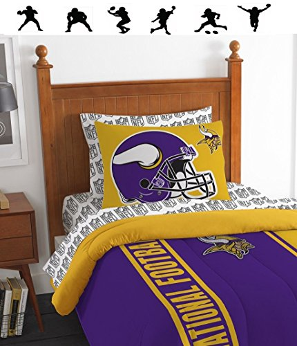 NFL MINNESOTA VIKINGS 5pc TWIN Size Comforter, Pillow Sham and Sheet Set + WALL DECALS