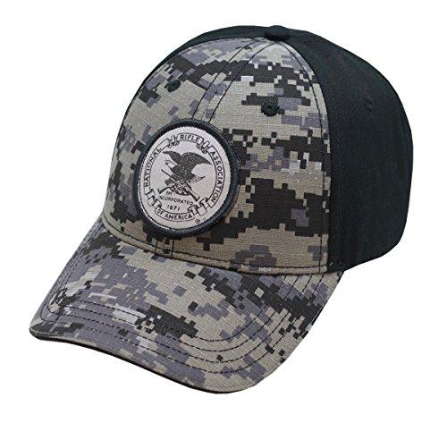 NRA Black and Grey Digi Camo Cap With Circle (Cap Hat Emblem)