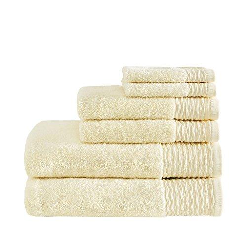 Madison Park Breeze 100% Cotton Jacquard Wavy Border Zero Twist Absorbent Super Soft Hotel Bathroom Towel Set Shower Hand Face Washcloths, Assorted Sizes, Yellow 6 Piece