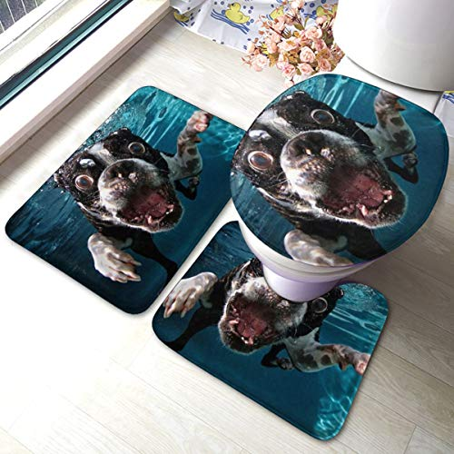FFCrying Boston Terrier Underwater Dog Soft Flannel Bathroom Rug Mats 3 Piece Set Bath Mat + Contour Rug + Toilet Lid Cover with Non-Slip Backing Pad