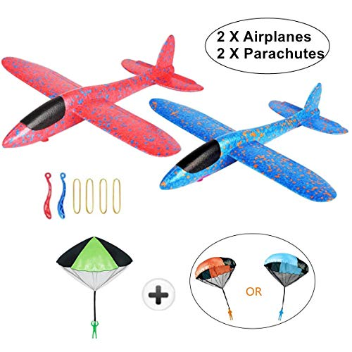 KINGSOO Glider Airplane for Kids, 2 Pack Glider Planes with 2 Parachutes 15 inch Foam Flying Airplane Kit for Outdoor Sports Garden Yard Playing - Blue and Red (Slingshot)