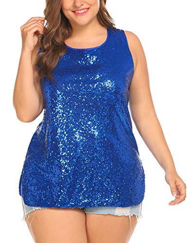 IN'VOLAND Womens Sequin Top Plus Size Tank Tops Sparkle Glitter Party Summer Sleeveless T Shirts Tunics Blue ()