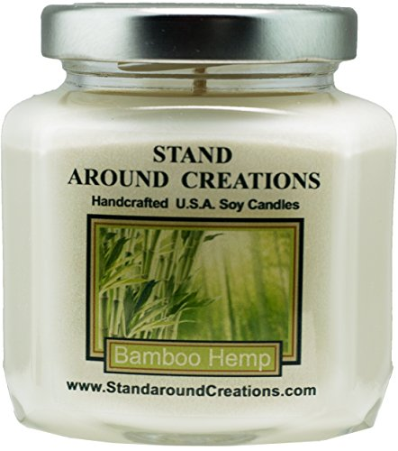 Premium 100% Soy Wax Candle - 6 - oz. Hex Jar- Bamboo Hemp - A incredible blend of bamboo stalks, vetiver, patchouli Infused w/natural essential oils.