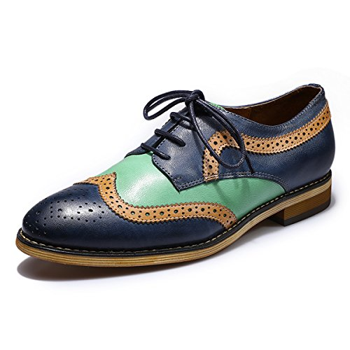 Mona flying Womens Leather Perforated Brogue Wingtip Derby Saddle Oxfords Shoes for Womens ladis Girls Dark Blue-Green ()