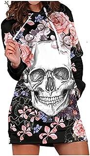 Hooded Dresses for Women Vintage Skull Print Long Sleeve Dress Long Hoodie Sweatshirt Halloween Mini Dresses