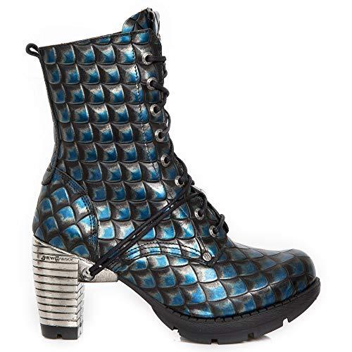Cordones M Botines Rock Chica Urban Punk Heavy tr001x Azul Tacón New s17 Gótico Mujer zSqqw5