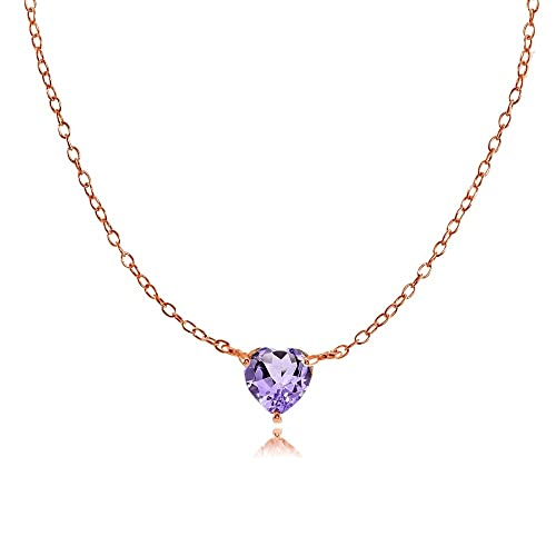 205bc040e53 Ice Gems Rose Gold Flashed Sterling Silver Small Dainty Amethyst Heart  Choker Necklace