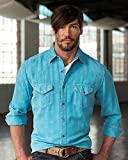 Ryan Michael Men's Lagoon Aztec Silk Western Shirt Light Blue XXX-Large