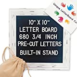 Black Felt Letter Board with 680 Letters and Symbols, [10x10 inches] Changeable Framed Felt Bespoke Rustic Message Board with Retractable Stand, Wall Mount and 2 Free Canvas Bag
