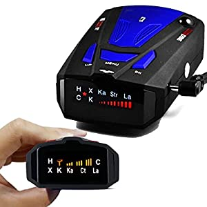 Radar Detector, Voice Alert and Car Speed Alarm System with 360 Degree Detection, City/Highway Mode Radar Detectors for Cars (Blue)