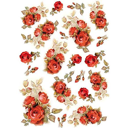 - Stamperia Rice Paper Sheet A4-red Roses