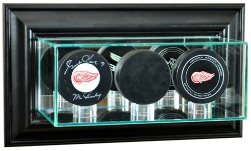 Hockey Puck Wall Mounted Triple Puck Display Case with Black Frame (Puck Frame Hockey)