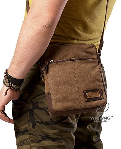 high quality biggest discount shop Amazon.com: Canvas leather brown bag, men's bag, crossbody ...