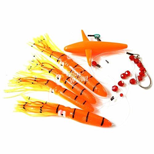Fish WOW! Fishing Daisy Bird Chain Shell Squid Lure Rig Teaser Trolling – Orange Tiger