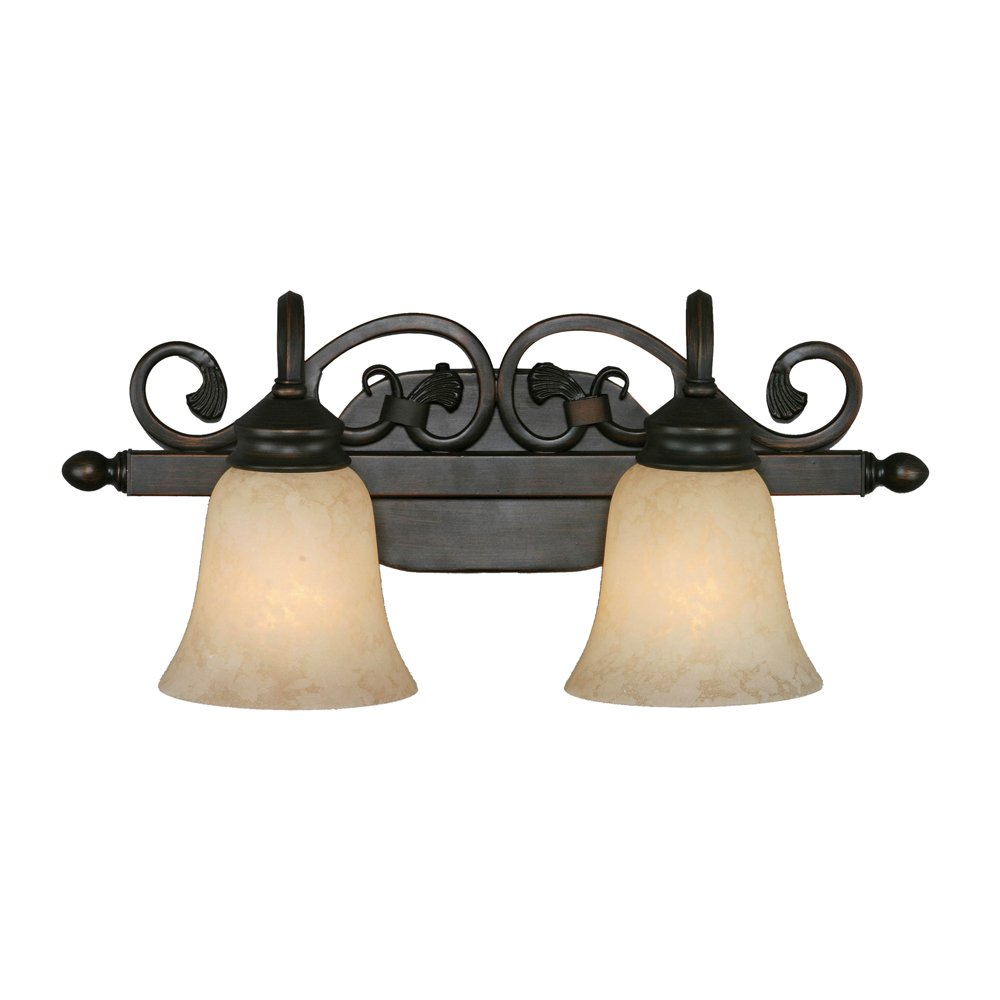 Golden Lighting 4074-2 RBZ Belle Meade Bath Fixture, Size 20-Inch W x 9-Inch H x 8-Inch E, Rubbed Bronze