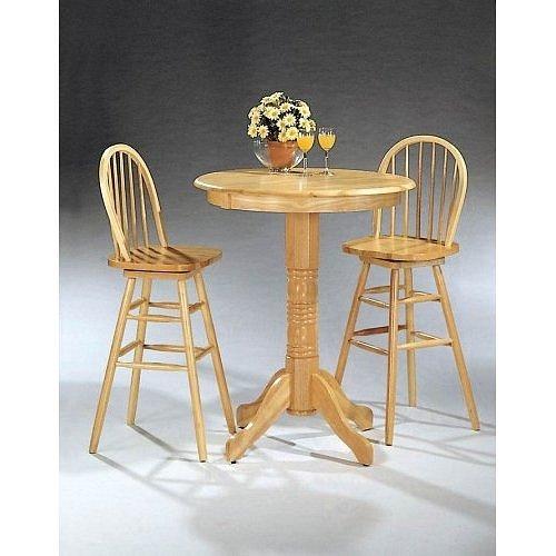 3pc Natural Finish Wood Pub Bar Table Windsor Swivel Stool Set ()
