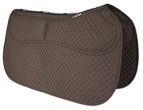 Saddle Blanket Contour - ECP Western Saddle Pad All Purpose Diamond Quilted Cotton Therapeutic Contoured Correction Support Memory Foam Pockets for Riding Color Brown