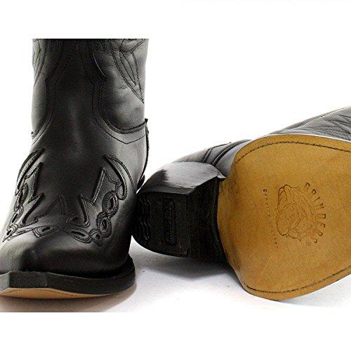 Grinders Nouveau Arizona Bottes Western Cowboy en Cuir Noir Unisex Homme Femme Cowboys Bottes Motard à Talons Aigle