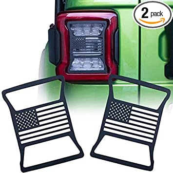 Pair US Flag A ABIGAIL Tail Brake Light Cover Guard Protectors for 2007-2018 Jeep Wrangler JK Unlimited JKU Sahara Rubicon Sport Taillights Accessories