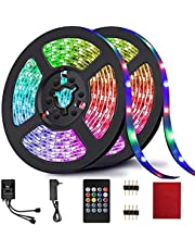 LED Strip Lights, Light Strip RGB 32.8FT/10M 20Key, Music Sync Color Changing, Rope Light 600 SMD 3528 LED, IR Remote Controller Flexible Strip for Home Party Bedroom DIY Party Indoor (2x16.4ft)