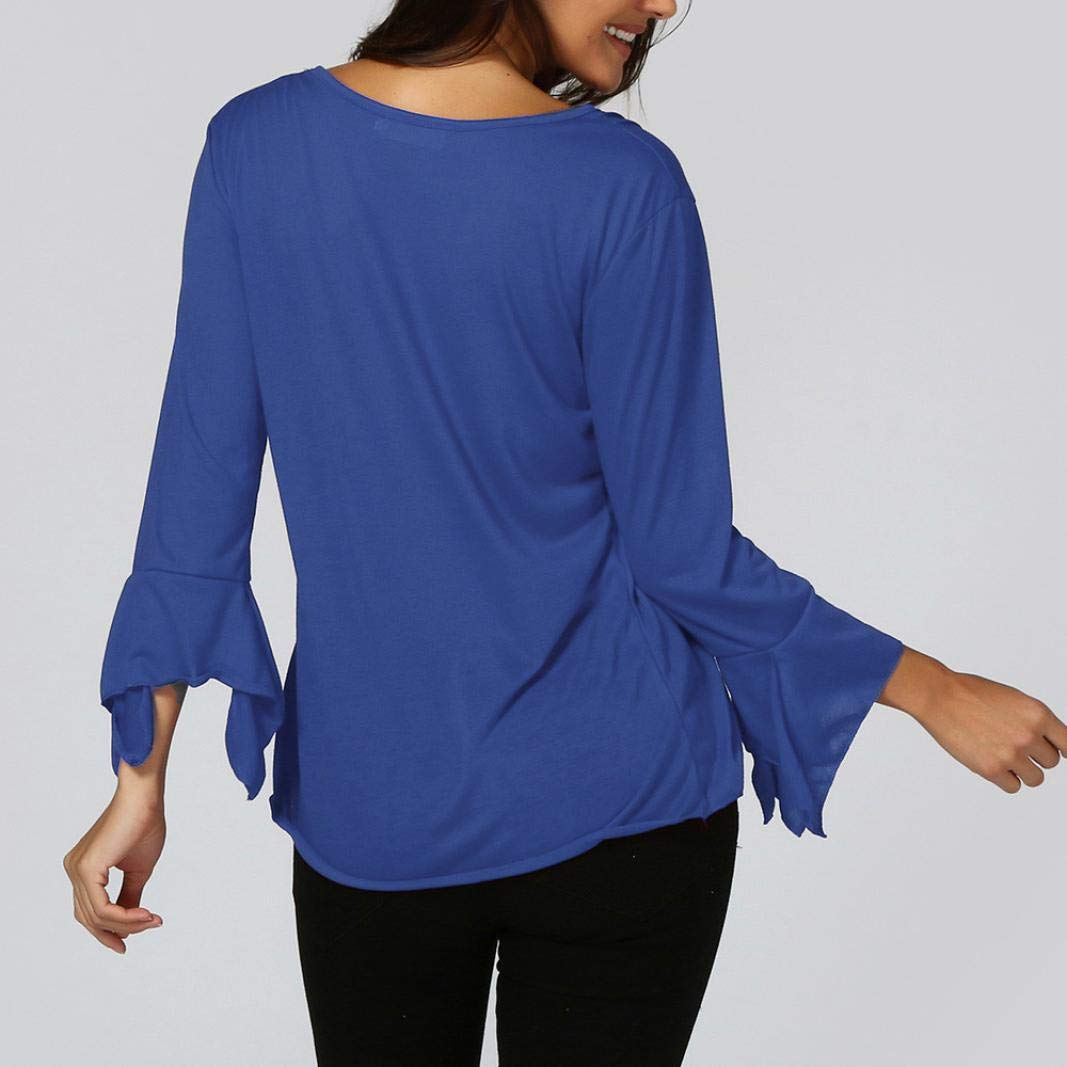 ❤ Blusa Mujeres Slim V Cuello Botones, Flare 3/4 Sleeve Blouse Tops Shirt tee Otoño Absolute: Amazon.es: Ropa y accesorios