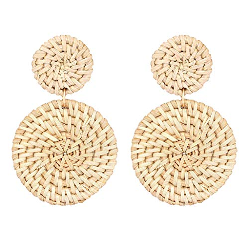 - FEDULK Womens Jewelry Weave Straw Double Disc Drop Earrings Boho Rattan Dangle Statement Earrings(White)