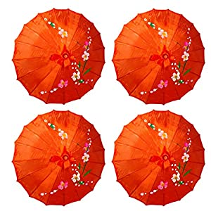 TJ Global PACK OF 4 Japanese Chinese Kids Size 22″ Umbrella Parasol For Wedding Parties, Photography, Costumes, Cosplay, Decoration And Other Events – 4 Umbrellas (Red)