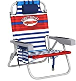Tommy Bahama 2017 Backpack Cooler Folding Beach Chair (Various Colors) (Red White & Blue Stripe)