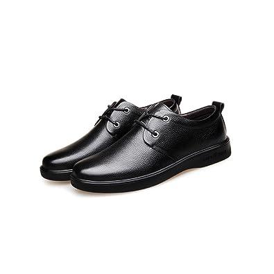 LYZGF Hommes Jeunes Affaires Occasionnels Mode Gentleman Mariage Dentelle Chaussures en Cuir,Black-38