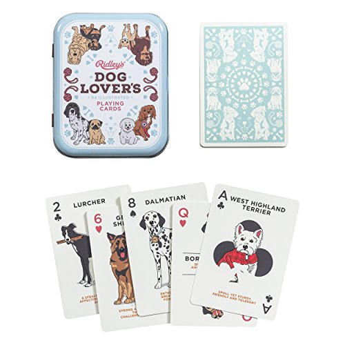 Dog Playing Cards - Ridley's Dog Lovers Deck of 52 Illustated Dog Breed Index Playing Cards