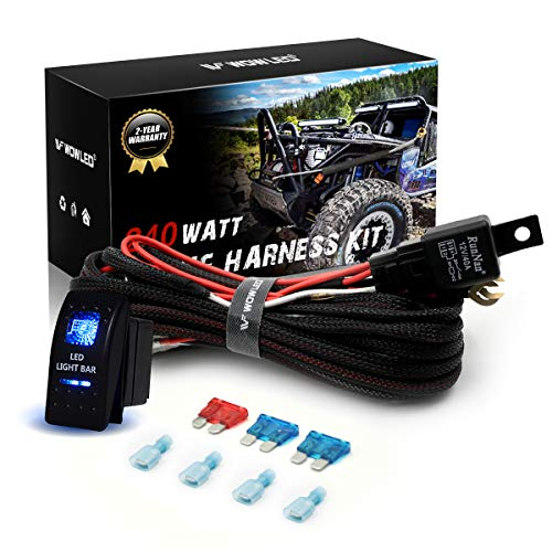 WOWLED Wiring Harness Kit for 2 Leads, Waterproof 5pin Rocker Switch + Relay + Fuse LED Light Bar High-end Braided Sleeving Harness Loom Kit for Car Truck 4X4: