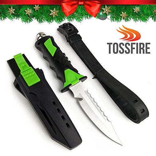 """Tactical Ergonomic Multiuse Dive Knife Gear 9x1.6"""" Scuba Diving Snorkeling Survival Double Edge Smooth Sharp Serrated Corrosion Resistant Stainless Steel Blade Premium ABS Sheath Lock Release Button"""