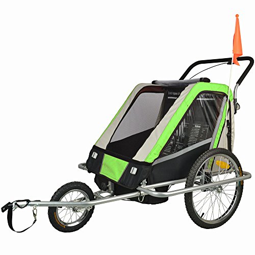 Suspension Children Bicycle Trailer & Jogger Combo Green 503