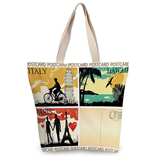 Funky Canvas Tote Bag,Retro,Postcards from Italy Hawaii Paris Exotic Places in the World Nostalgic Times Print Decorative,Multicolor,Canvas Shopping bag,shoulder handbags,Shoulder Bag by iPrint