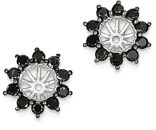 ICE CARATS 925 Sterling Silver Black Diamond Earrings Jacket by ICE CARATS