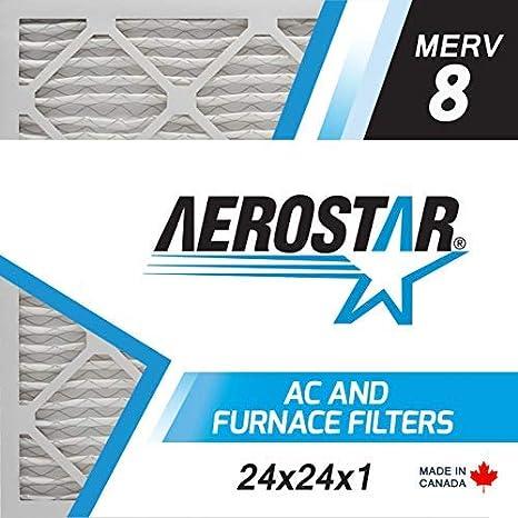 Aerostar Home Max 24x24x4 MERV 13 filtro de aire plisado captura part/ículas de virus, tama/ño real: 23 3//8x23 3//8x3 3//4 fabricado en los Estados Unidos 6 unidades