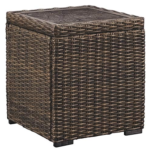 Ashley Furniture Signature Design - Alta Grande Outdoor Square End Table - Resin Wicker - Fiberglass-Resin Table Top - Brown