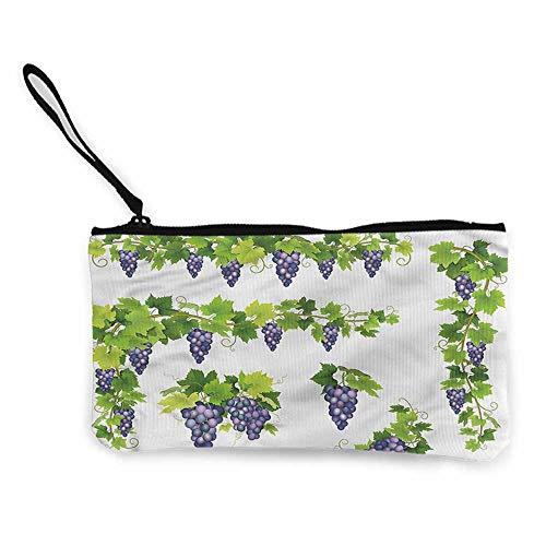 Cash Bag 1950s Vine,Green Leaf Cluster of Berries W8.5