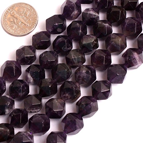 GEM-inside Natural 10mm Faceted Amethyst Gemstone Loose Beads Purple Square Crystal Energy Stone Beads for Jewelry Making Jewelry Beading Supplies for Women