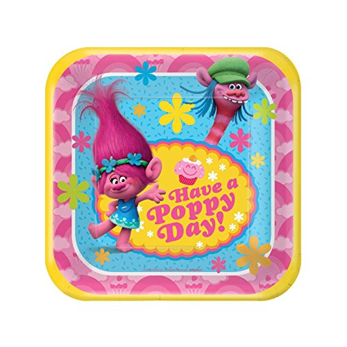 Discover Bargain American Greetings Trolls 7 Square Plate (8 Count)