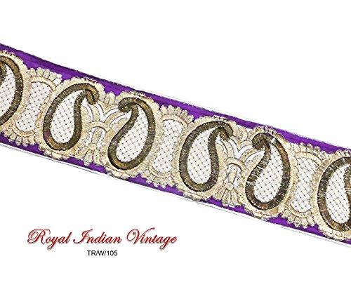 Purple Ribbon Trim Paisley Border Decorative Apparel Lace Sewing India By 1 Yard