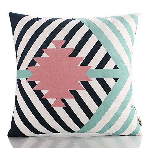 HT&PJ Decorative Super Soft Fabric Square Throw Pillow Case Cushion Cover Geometric Pattern Pink Design 18 x 18 Inches