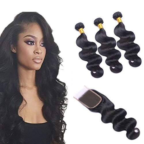 - Brazilian Body Wave 3 Bundles with Closure,8A Brazilian Human Hair Bundles with Closure Unprocessed Brazilian Virgin Hair Bundles with Full Lace Closure Free Part Natural Color (10 12 14with10)