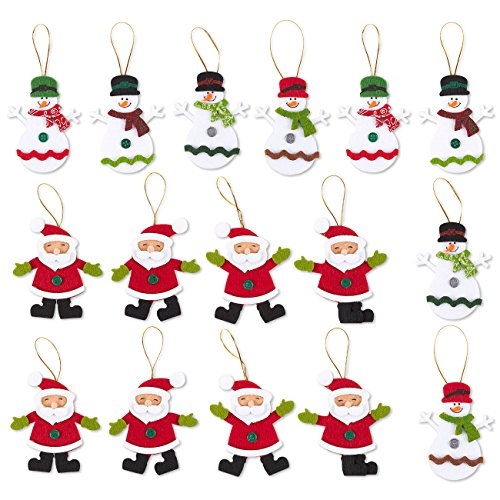Juvale Pack of 16 Felt Ornament Set - Includes Snowman and Santa - Cute Christmas Ornaments - Ready to Hang on Christmas Tree - Santa Snowman Ornament