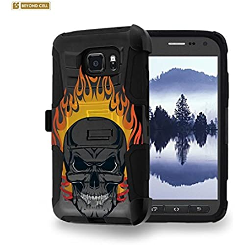 Beyond Cell [Galaxy S7 Active] Case, SM-G891A, Durable High Impact Hard+Soft Hybrid Rugged Case Built in Kickstand & Belt Clip Holster-Fire Skull Sales