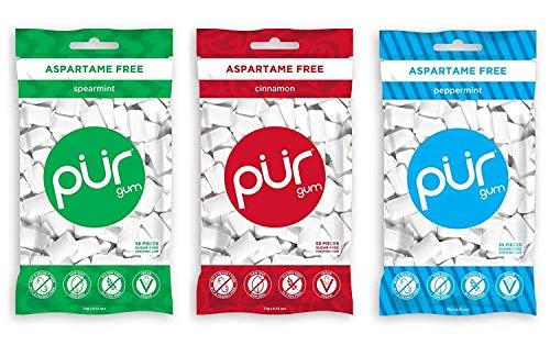 PUR Gum 3 Flavor Assortment Spearmint, Cinnamon, Peppermint, (Pack Of 3)