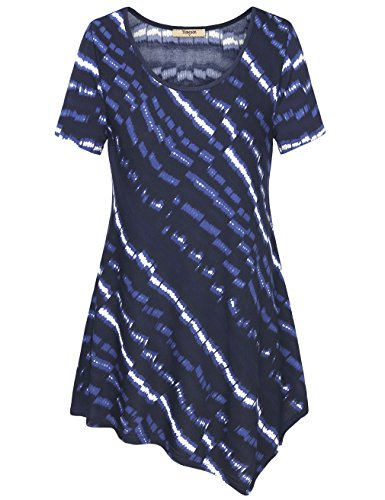 for Women Casual Tops,Timeson Short Sleeve Deep Scoop Neck Handkerchief Hem T-Shirt Flowy Tunic Top Deep Blue Large